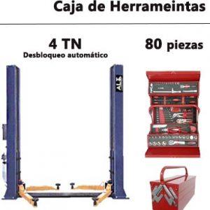 Elevador 2 columnas con Caja de herramientas 80 piezas.